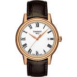 TISSOT T-Classic Carson 優雅紳士時尚腕錶(銀x玫瑰金/39mm) T0854103601300