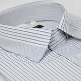 【金安德森】藍黃條紋變化領窄版短袖襯衫