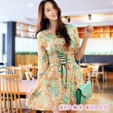 預購【CHACO韓國】波希米亞束腰綁帶七分袖印花雪紡洋裝CLEB-O-11(花草色S/M/L)
