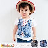 魔法Baby~嬰幼兒肩開釦T恤~百貨專櫃正品純棉上衣~藍.灰圖案隨機出貨~k35131