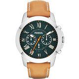FOSSIL Grant 旗艦三眼計時復刻腕錶-綠x咖啡 FS4918