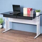 《Homelike》巧思辦公桌 亮白系列-黑色亮面烤漆140cm(附二抽屜)