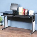 《Homelike》巧思辦公桌 炫灰系列-黑色亮面烤漆140cm(附抽屜+鍵盤架)