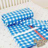 【奶油獅】格紋系列-台灣製造-100%精梳純棉雙面薄被套(藍)-單人