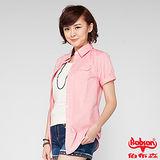 BOBSON 女款素面長版短袖襯衫(粉24131-13)