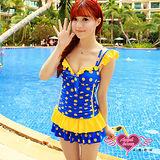 【天使霓裳】輕甜微醺 一件式連身泳衣(藍黃)