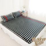 【奶油獅】格紋系列-台灣製造-100%精梳純棉床包二件組(黑)-單人3.5尺