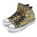 女 CONVERSE 高筒帆布鞋 甜美豹紋 ROCK 黑黃 33W170103
