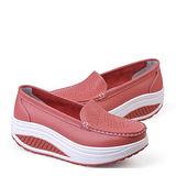 【Maya easy】西紅色 雅緻純色淑女風格透氣搖擺健走鞋(鞋跟5cm高)
