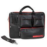 【TOOLS 圖爾】繽紛色彩 COM BAG 筆電圖爾包--髮絲紋 平板電腦包--黑紅 140102-01