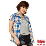 BOBSON 女款格紋短袖襯衫(藍24137-54)