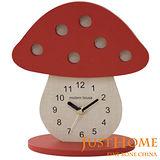 【Just Home】蘑菇造型木製桌鐘(台灣製造)