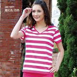 【RATOPS-涼夏熱銷】女 COOLMAX條紋波浪領小袖T恤.休閒排汗上衣/DB7901