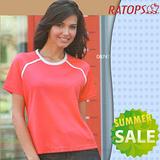【RATOPS-涼夏熱銷】女款 Coolmax 圓領短袖排汗休閒衫.T恤.排汗衣/ DB7474 桔紅