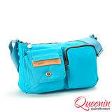 DF Queenin R兔 - 日系設計輕質感雙前袋側背包-天空藍
