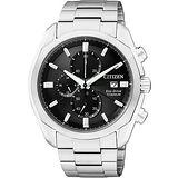 CITIZEN ECO-Drive 超級鈦金屬計時腕錶-黑 CA0021-53E