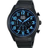 ALBA 街頭玩酷時尚三眼計時腕錶-IP黑x藍時標 VD53-X170B
