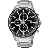 SEIKO SPIRIT 太陽能鬧鈴兩地時間計時腕錶-黑 V172-0AR0D