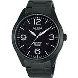 ALBA 街頭玩酷時尚藍寶石水晶腕錶-IP黑 VJ42-X126SD