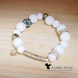 【Rabbit Duke】經典歐美風格 個性白貝殼拼接長形鑽設計串珠手鍊