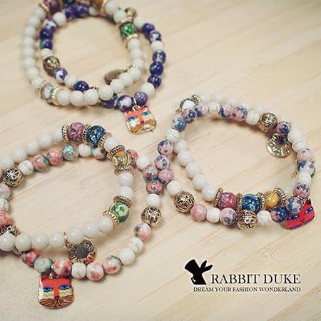 【Rabbit Duke】經典歐美風格 個性可愛俏皮小貓多彩天然石串珠手鍊 -friDay購物 x GoHappy