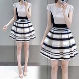 《韓國K.W.》自信.條紋歐根紗拼接洋裝