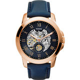 FOSSIL AUTOMATIC系列 領導風範都會時尚機械錶-藍x玫塊金框 ME3054