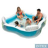 【INTEX】方型有靠墊透明戲水游泳池/充氣泳池(229*229cm)(882L) (56475)