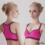 【Naya Nina】深V羽型胸墊無鋼圈工字背運動內衣(紫紅配黑邊M-L)
