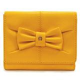 AIGNER JUDY系列 蝴蝶結飾三卡相框零錢女用短夾-亮黃