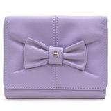 AIGNER JUDY系列 蝴蝶結飾三卡相框零錢女用短夾-紫丁香