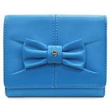 AIGNER JUDY系列 蝴蝶結飾三卡相框零錢女用短夾-水藍