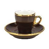 Tiamo 19號鬱金香拿鐵杯盤組(K金) 280cc 一杯一盤 (咖啡) HG0849BR