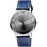 STAR 藝術時尚簡約風情女錶-銀灰x藍色錶帶 9T1407-331S-GR