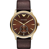 ARMANI Classic 爵士時尚小秒針腕錶-咖啡x金框 AR1799