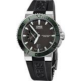 Oris Aquis 專業500米小秒針潛水機械腕錶-灰黑x綠框 0174376734137-0742634EB