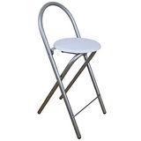 鋼管高背(木製椅座)折疊-吧檯椅/吧台椅-素雅白色-1入/組