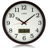 【A-ONE】大尺寸 核木紋LCD雙顯示掛鐘 (TG-0228)