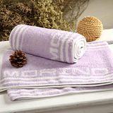 MORINO摩力諾 色紗彩條運動長巾-粉紫 22*126CM