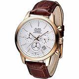 ALBA 紳士風尚3眼計時腕錶 -白面