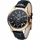 ALBA 紳士風尚3眼計時腕錶 -黑面