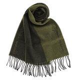 Vivienne Westwood 新款雙色混羊毛logo披肩圍巾-墨綠色