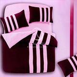 【時尚運動風】雙人四件式二用被床包組(紫)