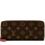 Louis Vuitton LV M60742 CLEMENCE 經典花紋拉鍊長夾.紫紅 預購