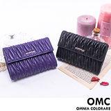 OMC - 韓國專櫃立體抓皺感多卡零錢式真皮中夾 - 質感黑