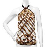 GUCCI 咖啡色竹節圖樣綁帶純絲上衣