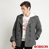 BOBSON 男款翻領雙排釦毛呢外套 (中灰32037-86)