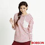 BOBSON 女款條紋連帽長袖上衣(米白32074-81)