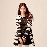 【S.Girl】斑駁條紋時尚長版西裝外套-黑白