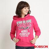 BOBSON 女款內刷毛連帽長袖上衣(桃紅31132-15)